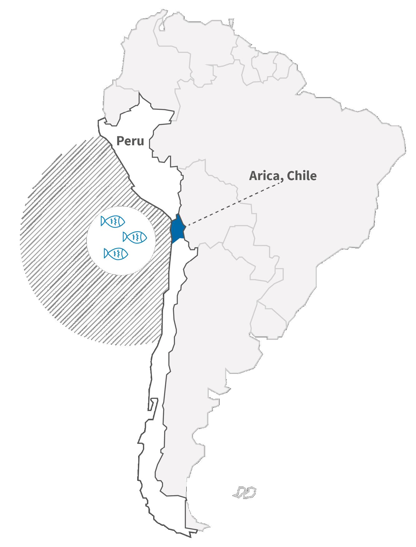 Karte von Südamerika, Chile