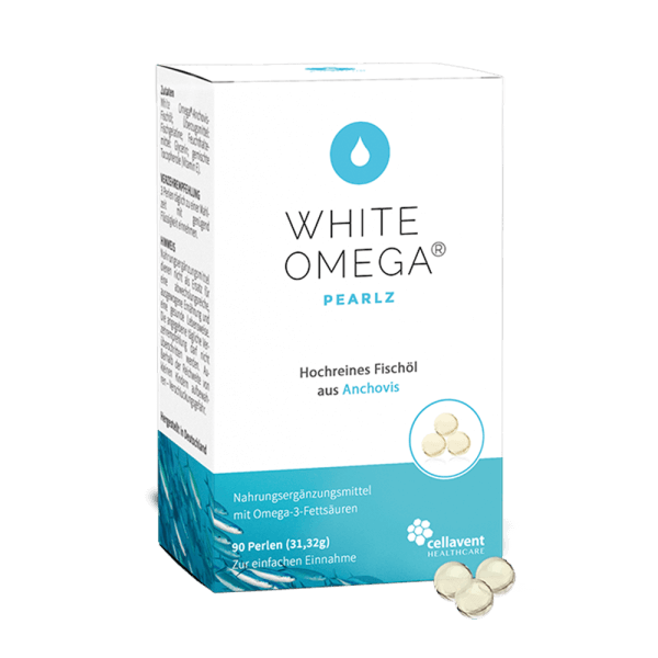 White Omega Pearlz Packung mit Perlen