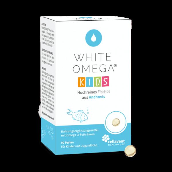 White Omega Kids Verpackung mit Mini-Kapsel