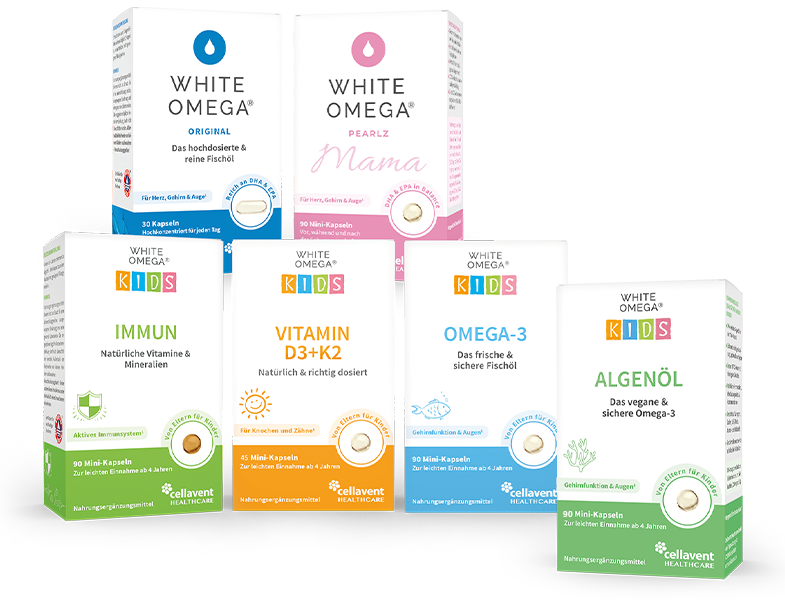 White Omega Fischöl Produktfamilie